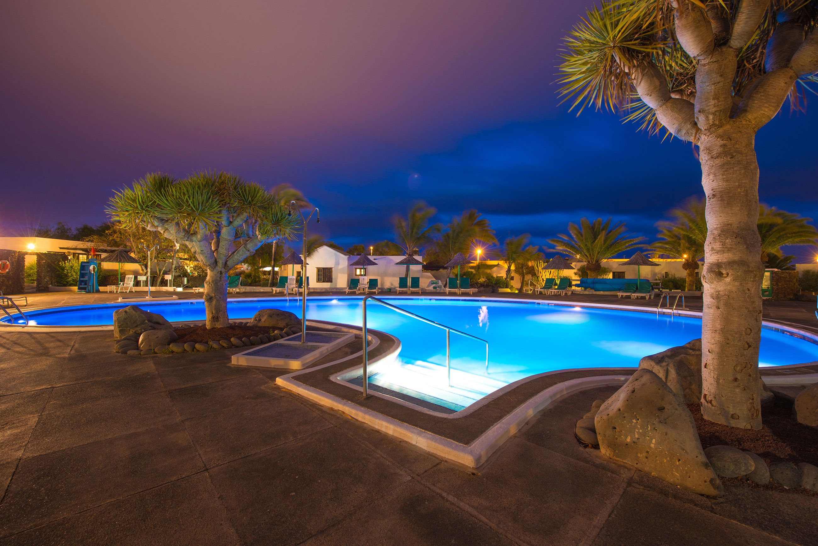 Las Casitas Swimming Pool at night