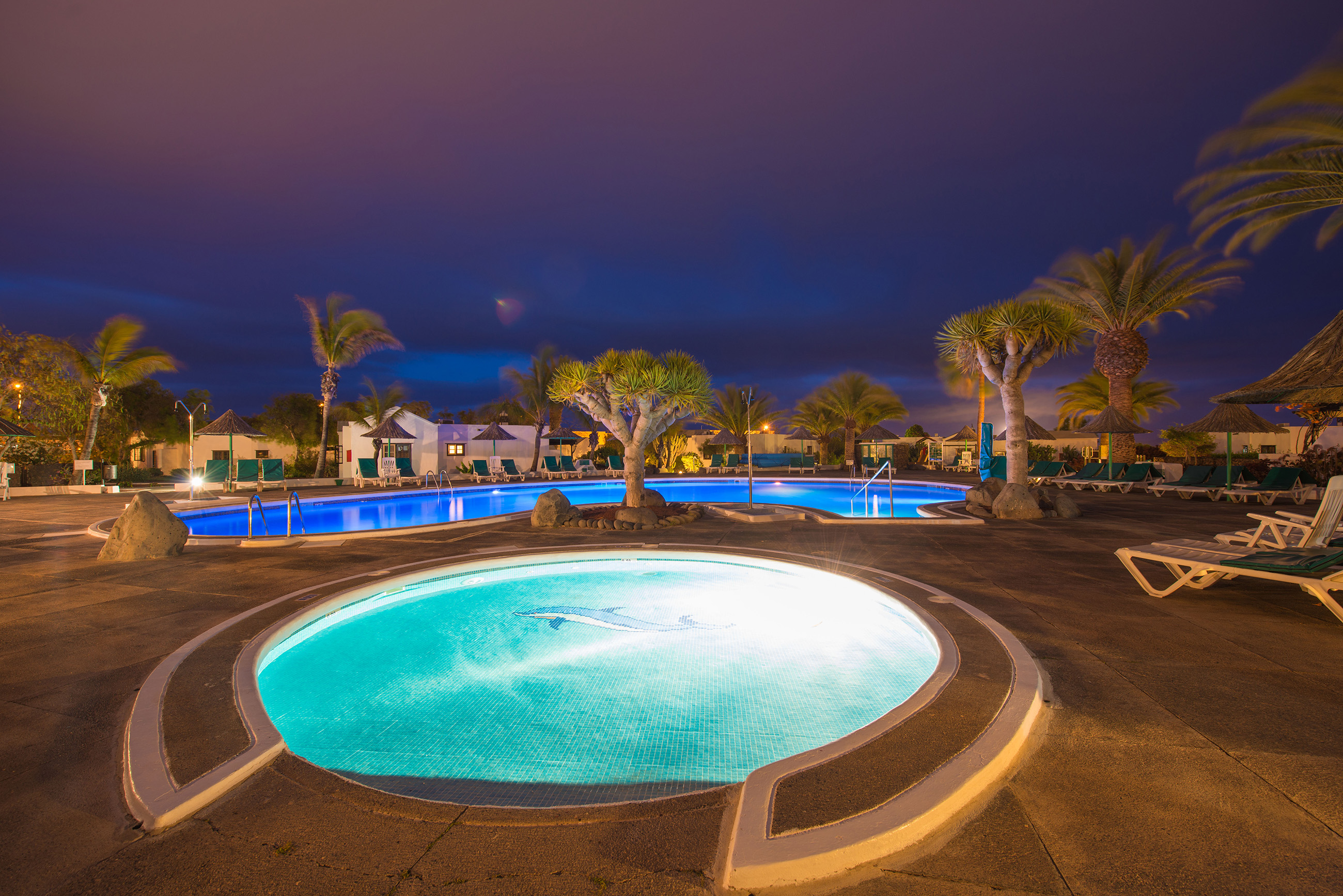 Las Casitas Swimming Pool at night 2